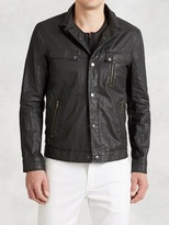 John Varvatos Resin Coated Linen Jacket with Wire Collar