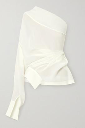 A.W.A.K.E. Mode One-shoulder Draped Chiffon Blouse - Ivory
