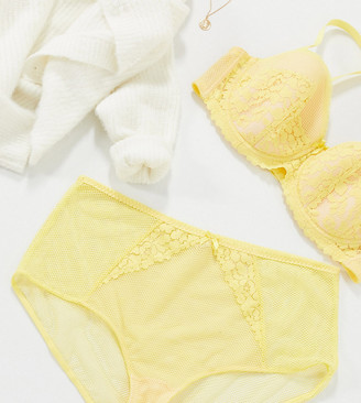 Ivory Rose Lingerie Ivory Rose Curve high waisted lace and mesh detail brief in yellow
