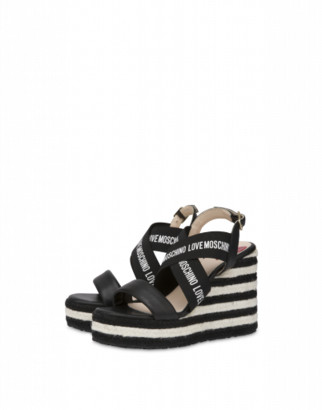 Love Moschino Wedge Sandals Elastic Band Woman Black Size 36 It - (6 Us)