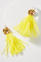 Anthropologie Feather & Flower Drop Earrings