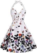 DressLily Women Retro Halter Butterfly Print A Line Vintage Cocktail Dress