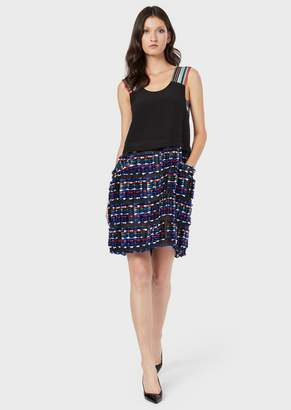 Giorgio Armani Silk Crepe Dress With Striped Shoulder Straps And Tweed-Effect Skirt