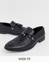 Asos Design DESIGN Wide Fit loafers in black faux leather with tassel detail