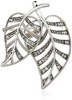 Judith Jack Swarovski Marcasite and Crystal Pave Leaf Brooches and Pin