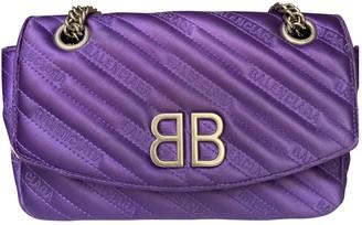 Balenciaga BB Round Purple Cotton Handbags