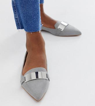 Asos Design DESIGN Leonie pointed loafer ballet flats in grey