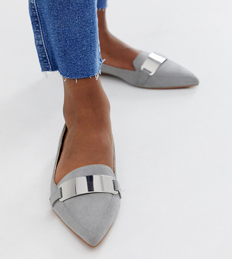 Asos DESIGN Leonie pointed loafer ballet flats in grey