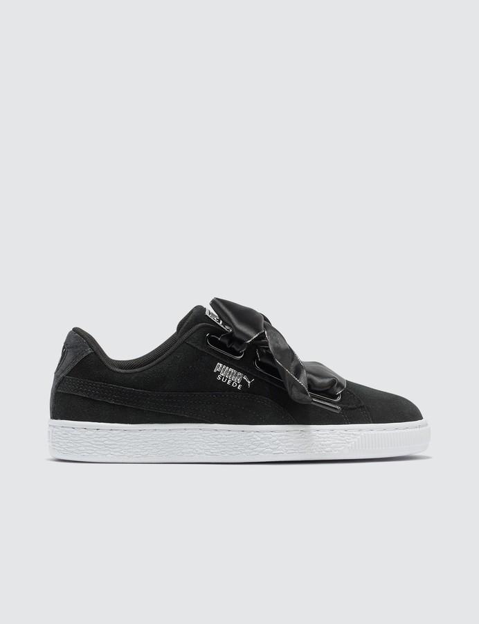 check out cf9c8 19c0e Black Suede Heart Galaxy Women's Sneaker