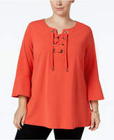 Charter Club Plus Size Lace-Up Bell-Sleeve Tunic, Created for Macy's