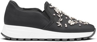 Prada Crystal-Embellished Slip-On Sneakers