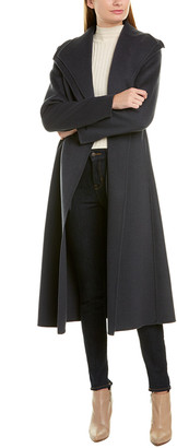 Tahari Belted Long Wool-Blend Wrap Coat