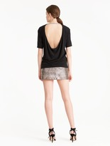 Halston Draped Back Wool Jersey Top With Chain Embellished Strap