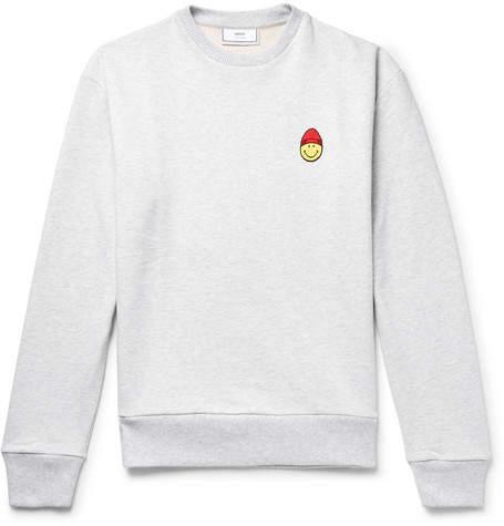 Ami + The Smiley Company Appliquéd Loopback Cotton-Jersey Sweatshirt