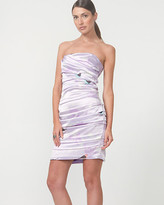 Le Château Satin Bird Print Ruched Cocktail Dress