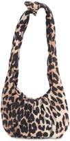 Ganni Small Leopard Print Nylon Top Handle Bag