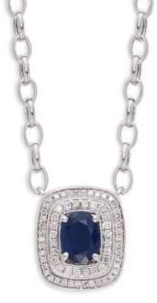 Effy 14K White Gold, Sapphire & Diamond Pendant Necklace