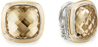 David Yurman 14mm Albion Champagne Citrine Stud Earrings w/ 18k Gold