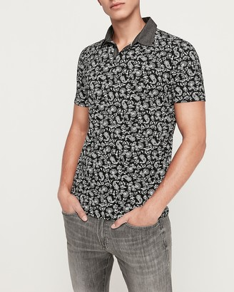 Express Paisley Moisture-Wicking Chambray Collar Performance Polo