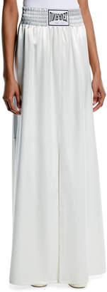 Unravel Boxing-Inspired High-Waist Wide-Leg Satin A-Line Skirt w/ Side-Slit