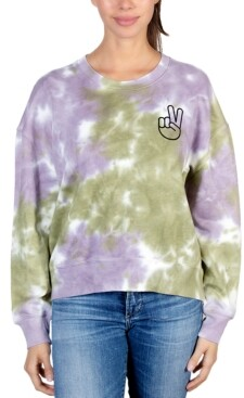 Rebellious One Juniors' Peace-Hand Tie-Dyed Sweatshirt