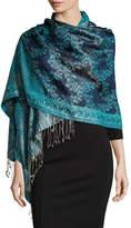 Sabira Paisley Jacquard Weave Silk Shawl, Blue Floral