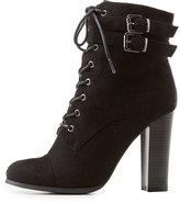 Charlotte Russe Lace-Up Block Heel Booties