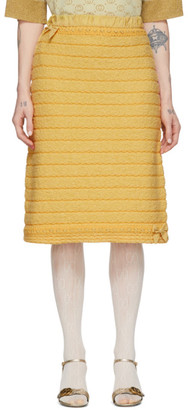 Gucci Yellow Wool Bow and Fringes Skirt