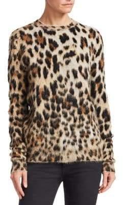 Saint Laurent Leopard Print Knit Crewneck Sweater
