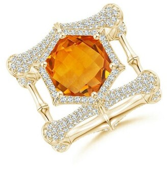 Natori Indochine Citrine Ring With Diamond Pave