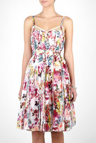 Pleated Mimosa Print Boned Dress