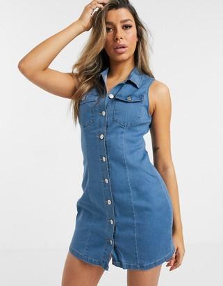 I SAW IT FIRST sleeveless denim mini dress-Blue