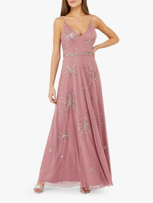 Monsoon Arabella Star Embellished Maxi Dress, Pink