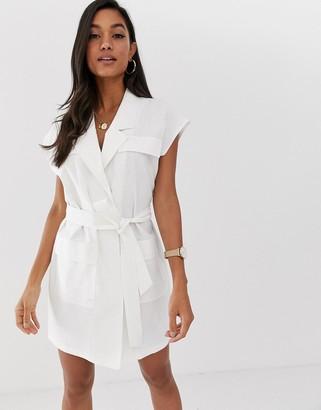 Asos Design DESIGN sleeveless utility mini dress with belt in linen-White