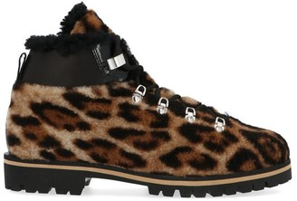 Yves Salomon X Moon Boot Leopard Print Ankle Boots