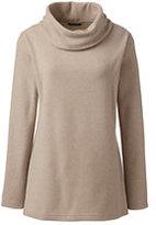 Classic Women's Petite Cozy Fleece Cowlneck Tunic-Blush Sand Heather