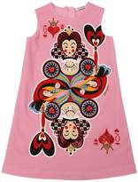 Dolce & Gabbana Queen Of Hearts Cotton Dress W/ Sequins