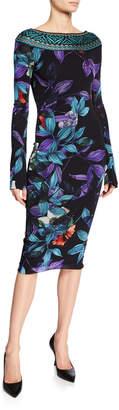 Fuzzi Leaf-Print Bateau-Neck Long-Sleeve Dress