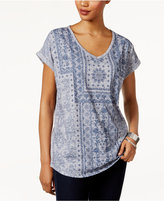 Style&Co. Style & Co Aztec-Print T-Shirt, Only at Macy's