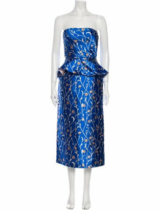 Johanna Ortiz Printed Midi Length Dress Blue