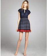 French Connection nocturnal striped crinkled cotton short coverup dress