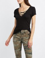 Charlotte Russe Ribbed Lattice-Front Tee