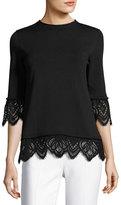 Oscar de la Renta Crewneck Knit Sweater w/Lace Trim, Black