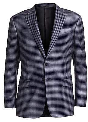 Giorgio Armani Men's Blue District Check Wool Sport Coat
