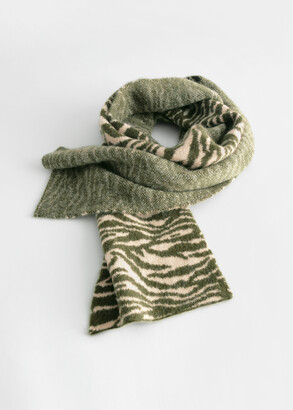 And other stories Fuzzy Zebra Wool Blend Scarf