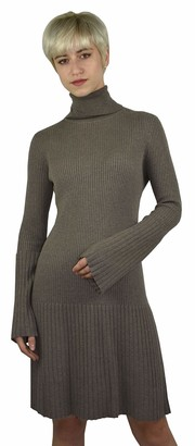 1stAmerican Women's Turtle Neck Knitwear Dress Cashmere and Silk Sweater Long Sleeve - Winter Cashmere Jumper 14 Gauges