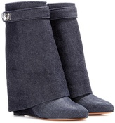Givenchy Shark Lock denim wedge boots