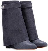 Givenchy Shark Lock denim wedge boots