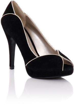 Little Mistress Footwear Black Peep Toe Contrast Trim Heels