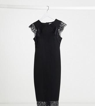 Blume Maternity bodycon lace detail midi dress in black
